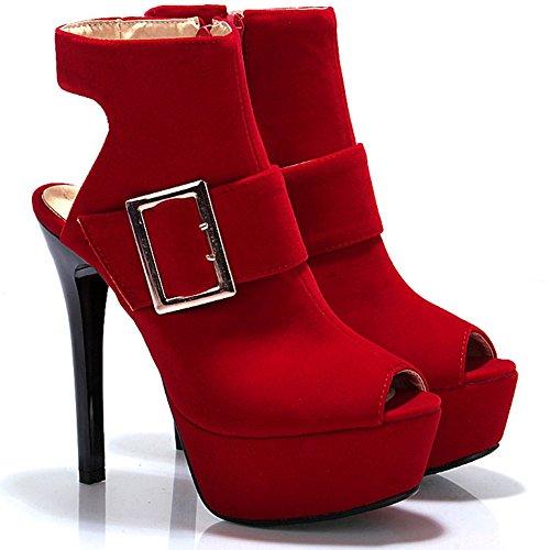 Sandales Toe Taoffen Hauts Mode Plateforme 8 Peep Talons Red Femmes wCUxqXS1P