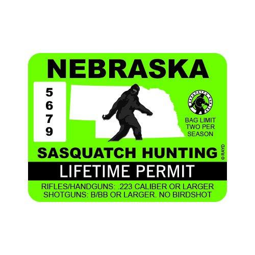 "RDW Nebraska Sasquatch Hunting Permit - Color Sticker - Decal - Die Cut - Size: 4.00"" x 3.00"""