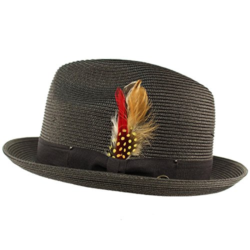 SK Hat shop Men's Light Removable Feather Derby Fedora Wide Curled Brim Hat L/XL by SK Hat shop