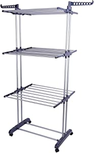 Clothes Drying Rack Portable Drying Racks for Laundry Foldable Indoor 3 Tier Heavy Duty Clothes Rack with Shelves Rolling Garment Drying Laundry Rack with Wheels for Outdoor Home Laundry