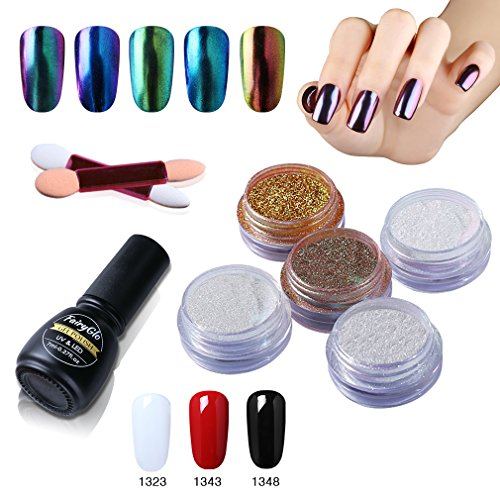 Cool Basics Set Body (Nail Polish Chrome Nail Powder Colour Changing Hologarphic Nail Art 5 Packs Gift Set 3 Colour Gel FairyGlo)