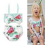 BANGELY Kids Baby Girls Polka Dot Swimsuit Floral