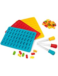 3 PACK! Gummy Bear Molds & Candy Mold Trays, Three Pack Candy Silicone Molds 50 Cavities with Bonus Dropper, 100% FDA Approved, BPA Free, Vitamins (Red, Yellow, Blue)