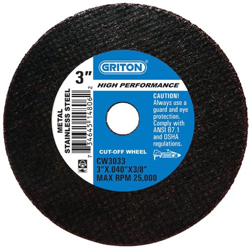 Pack of 50 Pack of 50 0.040 Width Griton Industries 3 Diameter 3//8 Hole Diameter 3 Diameter 0.040 Width Griton CW3033 Arbor Industrial Cut Off Wheel for Stainless Steel and Metal 3//8 Hole Diameter