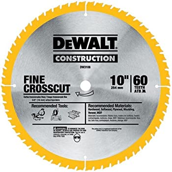 DEWALT DW3106P5D60I Series 20 10-Inch 60T Fine Finish Saw Blade, 2-Pack