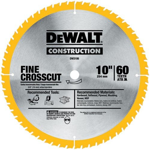 - DEWALT DW3106P5D60I Series 20 10-Inch 60T Fine Finish Saw Blade, 2-Pack