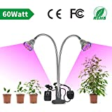 LED Grow Light for Indoor Plant,LVJING 60W UV IR Full Spectrum Grow Lamp with Dual Head,360° Flexible Gooseneck,Grow Light Bulb and Double Switch - Professional for Seedling Growing Blooming Fruiting