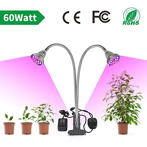 LVJING LED Grow Light for Indoor Plant 60W Full Spectrum Grow Lamp with Dual Head,360° Flexible Gooseneck,Grow Light Bulb and Double Switch (60w Led Grow Light)