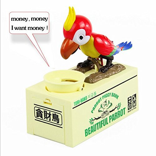 URToys Parrot Automatic Stole Coin Money Box for Children Christmas Birthday Gift Hungry Parrot Robotic Bird Piggy Bank For Coins Dog Coin Bank Home Decoration -