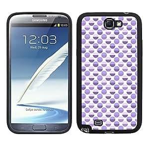 Funda carcasa TPU Gel para Samsung Galaxy Note 2 diseño ilustración estampado lunares malva borde negro