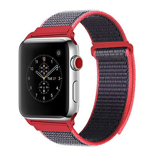 For Apple Watch Band 42mm Soft Woven Nylon Watch Sport Loop Band Breathable Replacement iWatch Band with Adjustable Closure for Apple Watch Nike+ Series 3 2 1,Electric Pink