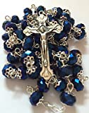 Deep Blue Glass Crystal Beads Rosary Necklace Holy Soil Medal Silver Plated New in Box
