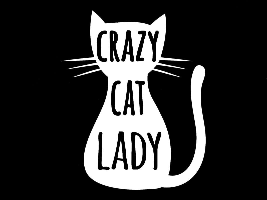 Crazy Cat Lady Silhouette Decal Vinyl Sticker|Cars Trucks Vans Walls Laptop| White |5.5 x 4.4 in|DUC373