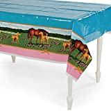"Fun Express Horse Mare and Foal Plastic Table Cover - 54"" x 108"",Multicolor"