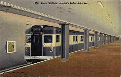 Train Platform Chicagos Initial Subways Chicago Illinois Original Vintage Postcard