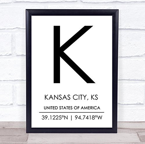 Kansas City, Ks United States of America Coordinates Travel Quote Wall Art Print ()