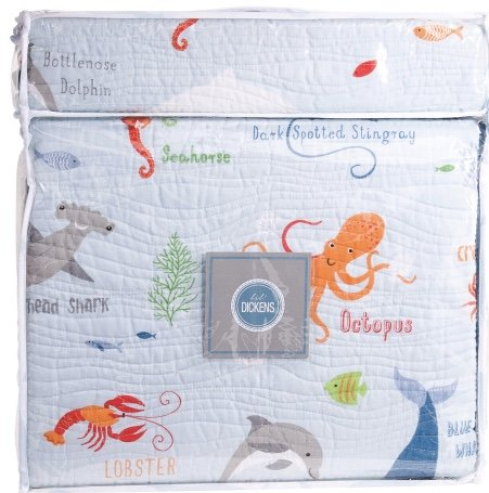 LIL DICKENS Kids TWIN SIZE Marine Life Quilt Set (includes matching sham) ocean octopus shark fish