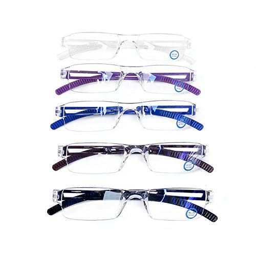 AQWANO 5 Pairs Quality Rectangular Readers Portable Rimless Reading Glasses for Women and Men UV Protection and Blue Light Blocking Glasses 5 Colors +1.5 by AQWANO