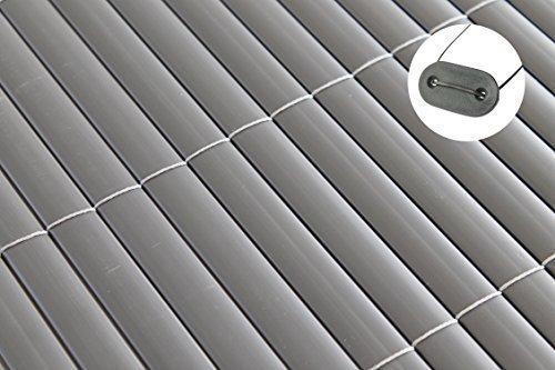 TOP MULTI Sichtschutz Windschutz PVC in 3 Farben und 12 verschiedenen Größen incl. farblich passendem Befestigungsmaterial - versandkostenfrei in D (Grau, Materialmuster)