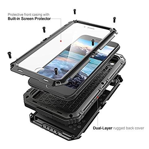 iPhone 6/6S Plus Case -5.5 inch IP68 Waterproof Heavy Duty Rugged Armor Case Shockproof Scratch-proof Dustproof Outdoor for iPhone 6/6S Plus Case (Iphone 6 Case Armor Rugged Black)