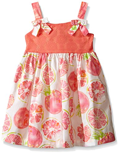 Blueberi Boulevard Cotton Sundress - Blueberi Boulevard Little Girls Fruit Slice Dress, Coral, 6
