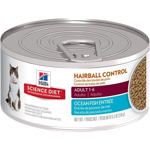 Fish Canned Food - Hill's Science Diet Adult Wet Cat Food, Hairball Control Ocean Fish Entrée Minced Canned Cat Food, 5.5 oz, 24 Pack