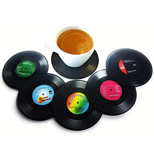 Cup Coaster Creative Drink Placemat Retro Novelty Drink Mats Spinning Vinyl Home Bar Decoration CD Record Shape 6 Pcs