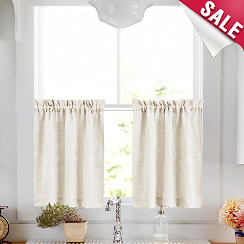Kitchen Tier Curtains 24 inch Linen Textured Cafe Curtains S