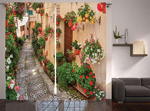 Ambesonne Tuscan Decor Collection, Tuscan House with Rustic Wooden Door and Flowers Image, Window Treatments, Living Room Curtain 2 Panels Set, 108 X 84 Inches, Yellow Pink Red Green Salmon