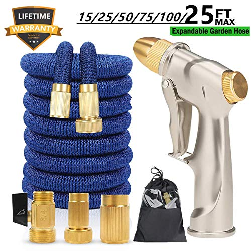 Sunifier Expandable Garden Hose 15 FT 25FT Flexible Garden Hose 50 FT 100 FT Expandable Water Hose with Garden Hose Nozzle for Lawn, Patio, Garden (Blue-25FT)