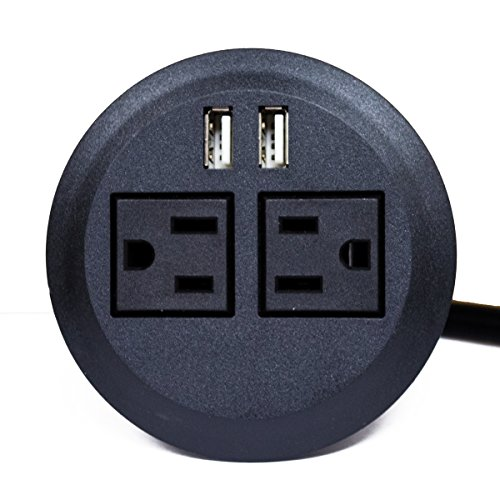 ApexDesk UL Certified Power Grommet (Black - Two Power Outlets, Two USB Ports)