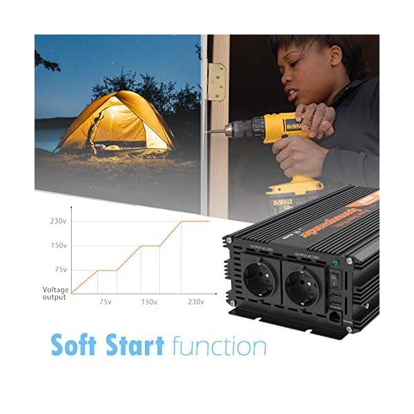 5177t4ebVnL EDECOA Wechselrichter reiner sinus 1500w Spannungswandler 12V 230V 2x USB und Fernbedienung Spannungswandler Reiner…