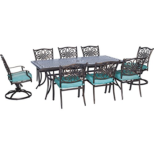 Hanover TRAD9PCSW2-BLU 9 Piece Traditions Dining Set with 6 Chairs, Two Swivel Rockers and Extra-Long Table Outdoor Furniture, Blue