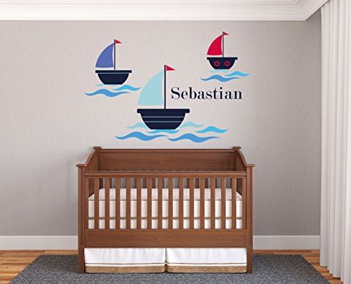 Custom Name Boats And Waves - Prime Series - Baby Boy - Nursery Wall Decal For Baby Room Decorations - Mural Wall Decal Sticker For Home Children's Bedroom (J136) (Wide 34