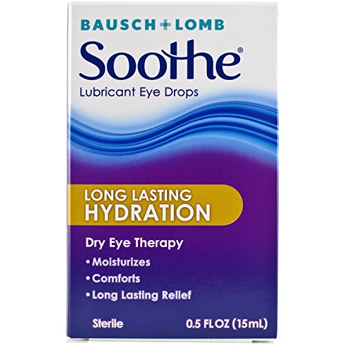 Bausch + Lomb Soothe Dry Eye Drops, 0.5 Ounce Bottle, Long Lasting Hydration Lubricant Eye Drops