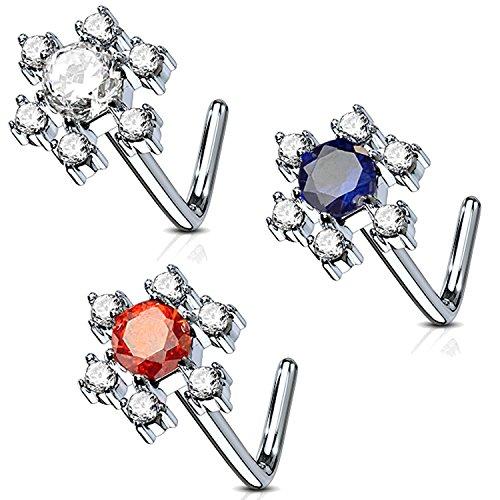 - BodyJ4You 3PC Nose Ring L-Shape Stud 16G Paved CZ Flower Steel Nostril Screw Women Piercing Jewelry