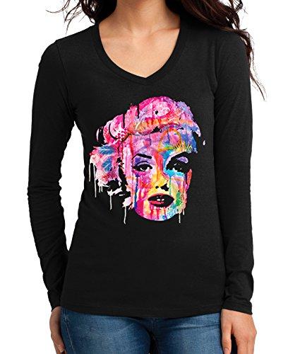 Junior's Dripping Neon Graffiti Marilyn Monroe Tee Black Long Sleeve V-Neck T-Shirt Medium Black ()