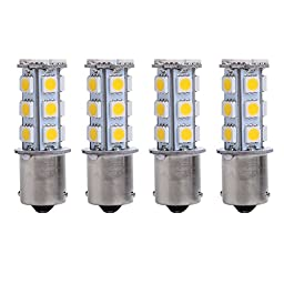 Trisense 1156 1003 1141 7506 Ba15s 18SMD LED Bulbs Warm White 10-pack Replacement for RV Camper Interior Lights & Exterior Tail Backup Reverse Lights, Brake Lights, Turn Signal Lights
