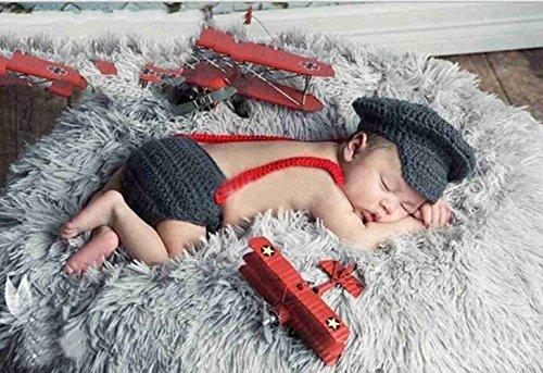 DAYAN Polizei Baby-Kostüm Windel Schuhe Fotografie Prop Süss Crochet häkeln Strickmütze Hut Cap