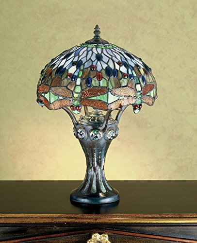 17 Inch H Tiffany Hanginghead Dragonfly Mosaic Base Accent Lamp , Table Lamps , Meyda