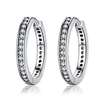 Sterling Silver Cubic Zirconia Hoop Earrings For Women By Presentski