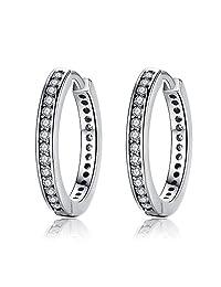 Sterling Silver Cubic Zirconia Hoop Earrings For Women By Presentski