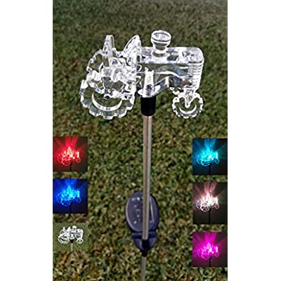 Ntertainment House Clear Acrylic Tractor Solar Yard Stick Color Change Lights : Garden & Outdoor