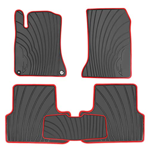 HD-Mart Car Floor Mats Liners Custom Fit for Mercedes Benz A Class 2012-2019/B Class 2013-2019 GLA 2014-2019 Black Red Rubber Set All Weather Protection Heavy Duty Odorless