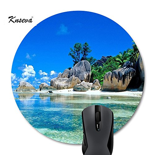 Vacation Mouse (Knseva Beaches Scene France Seychelles Navy Blue Sky Go Vacation Landscape Round Mouse Pad)
