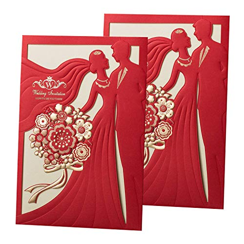 50PCS Laser Cut Bronzing Wedding Invitation Cards Hollow Favors Invitation Cardstock (CX068) ()