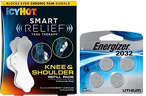 Icy Hot Smart Relief Tens Therapy Knee and Shoulder Refill Kit, 2 Pads Plus 4 Replacement Batteries from Icy Hot