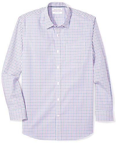 n's Regular-Fit Wrinkle-Resistant Long-Sleeve Plaid Dress Shirt, Blue/Purple Plaid, 16.5