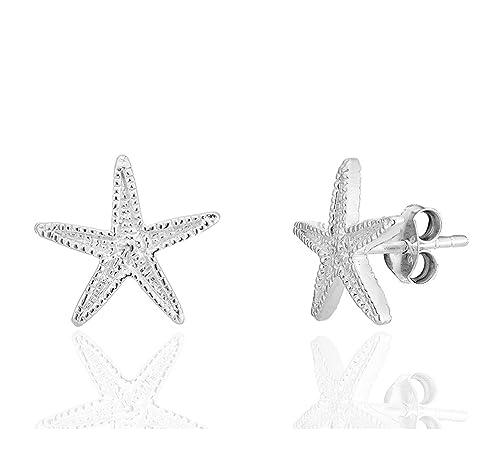 e907466f2538 DTP Silver - Pendientes Semental de Plata de Ley 925 en forma de Estrella  de Mar - Diámetro 12 mm  Amazon.es  Joyería