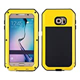 Samsung S6 Case, I3C Waterproof Shockproof Aluminum Gorilla Glass Metal Case Cover For Samsung Galaxy S6 Yellow